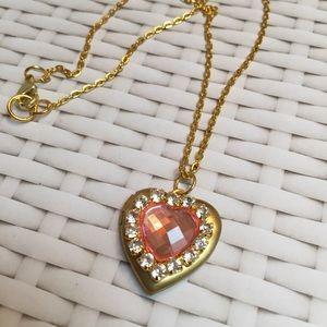 Gold locket necklace pretty pink rhinestone