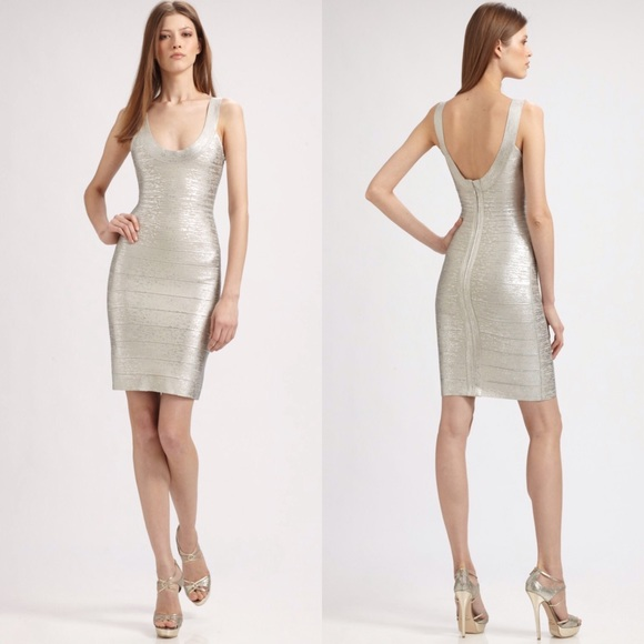 0670e1a8c9d0 Herve Leger U-neck Metallic Foil bandage dress M
