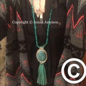 Large turquoise stone handmade necklace
