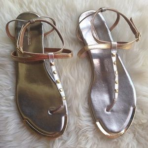 Gold & Silver BR Factory Sandals, 9