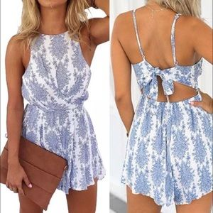 B-Long Boutique  Dresses & Skirts - Blue and white paisley tie open back romper