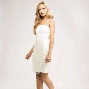 Keepsake backtrack ivory white fringe dress small