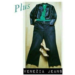 Venezia  Denim - Plus Venezia Wide Leg Denim Trousers