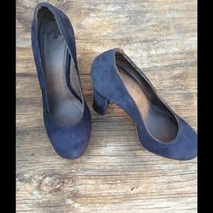Joie Shoes - Joie Blue Suede Chunky Heels