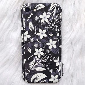 B-Long Boutique  Accessories - 360 protective black floral iPhone 7 phone case