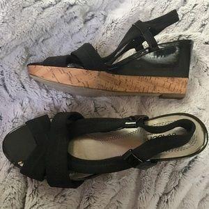 Sbicca Shoes - Sbicca Black & Cork Sandal Wedges