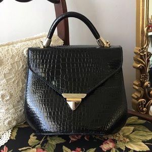 Vintage SASHA black patent leather gator snake bag