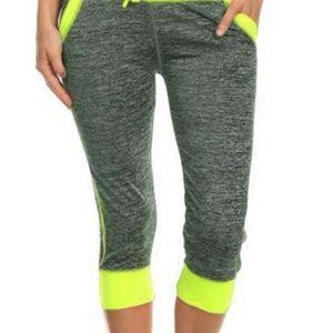 Pants - Heather gray neon yellow capri jogger leggings