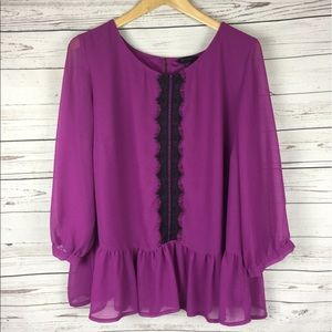 Simply Be Tops - SimplyBe Magenta Lace Blouse