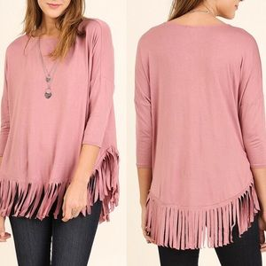 Pink Peplum Boutique Tops - 🆕 Boho 3/4 sleeve rayon top with fringe