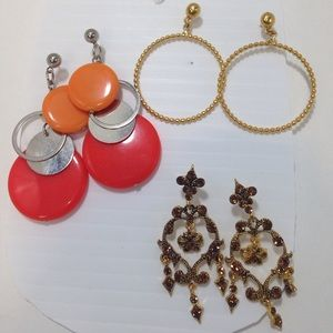 unknown Jewelry - Set of 3 Amazing Earrings hoops, Circles & shine