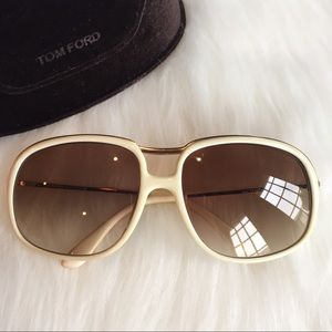 Tom Ford Accessories - Tom Ford Off White Gold Rim Sunglasses with Case