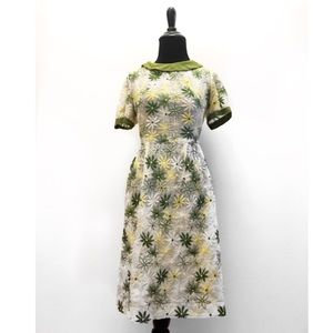 True Vintage Early 1960's Floral Embroidered Dress