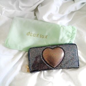 NEW // Glittery Deux Lux puffy heart wallet