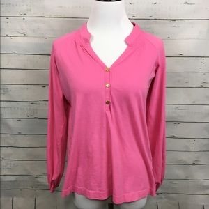 Lilly Pulitzer Tops - Lilly Pulitzer long sleeve pink Pima cotton top