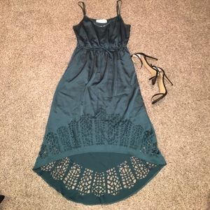 Rory Beca Dresses & Skirts - Teal High-Low Silk Cut-Out Dress