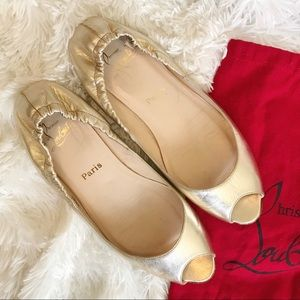Christian Louboutin Shoes - CHRISTIAN LOUBOUTIN ❤️ GOLD PEEP TOE FLATS SZ 39.5