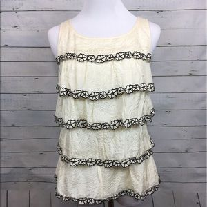 J.Crew collection ruffled silk tiered top