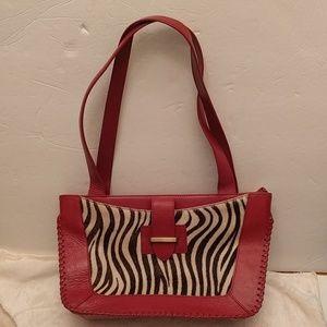 Naturalizer Handbags - Naturalizer red leather calf hair purse