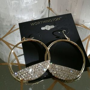 Worthington Jewelry - Rhinestones & Hoops Gold Earrings