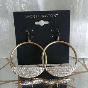 Worthington Jewelry - Rhinestone & Hoops Gold Earrings