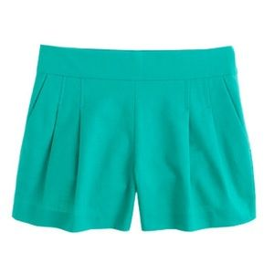J.crew pleated short in structured cotton green