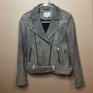 IRO grey lamb skin leather jacket size French 34
