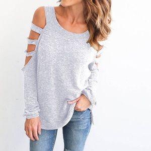 Tops - light gray cold shoulder T shirt