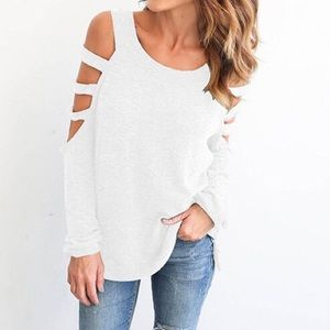 Tops - white cold shoulder T shirt