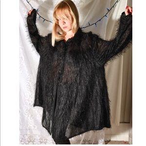 Vintage Tops - Vintage Oversized Furry Sheer Blouse