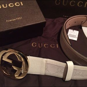 Gucci Other - Brand New Authentic Gucci White Monogram Belt