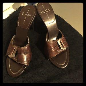 Paolo Pecora Shoes - Paola linea crocodile mule heels