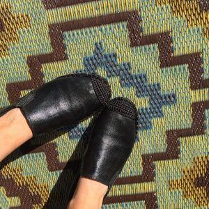 NIB Black Slip On Jute Espadrille Moccasin Loafers