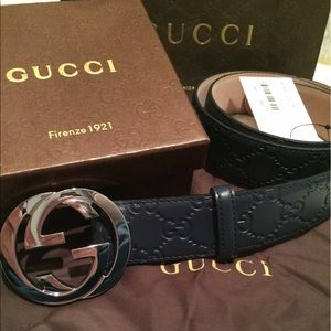 Gucci Other - Brand New Blue Guccissima Silver Buckle Belt
