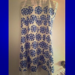 Lilly Pulitzer Strapless Dress White/Blue Embroid.