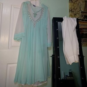 Soft blue and white dress with pant