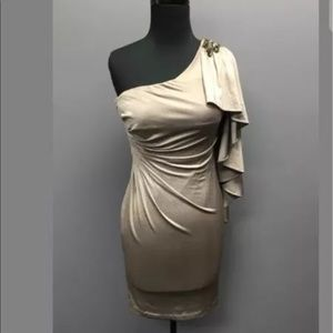 CACHE Dresses & Skirts - CACHE Metallic Silver One Shoulder Body Con Dress