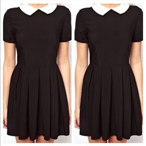ROMWE Dresses & Skirts - Romwe Black short sleeve dress with white collar