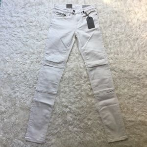 NWT [AllSaints] Off-White Biker Skinny Jeans - 26