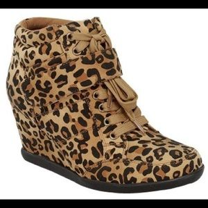 Forever Shoes - Leopard Print Wedge Sneakers