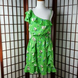 Teeze Me Dresses & Skirts - Green Ruffle Floral One Shoulder Floral Dress
