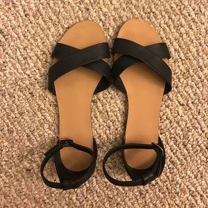 black leather criss cross sandals
