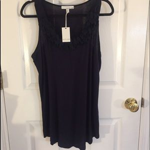 Lucy and Laurel Navy sleeveless top with petals