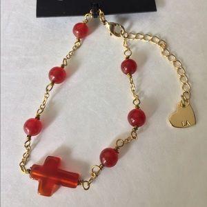 Carnelian beaded cross bracelet