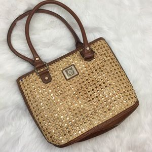 Anne Klein Handbags - ☂ANNE KLEIN Gold Shimmer and Straw Tote Purse