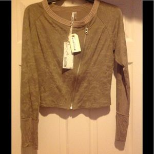 Miilla Clothing Tops - Top long sleeve, zip, faux suede knit