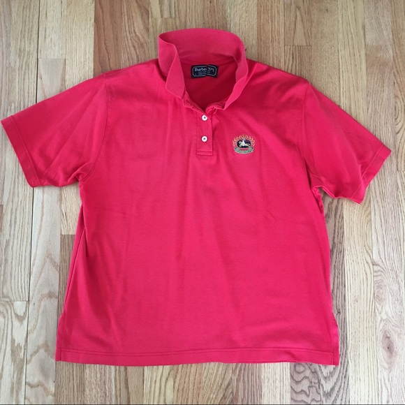 1e6325ea Burberry Tops | Vintage Red Embroidered Polo Shirt | Poshmark