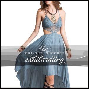 Boutique Dresses & Skirts - Crochet Cut-Out Hi-Lo Hem