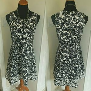 The Limited Dresses & Skirts - NWT High Cut A-Line Navy Floral Tea Length Dress