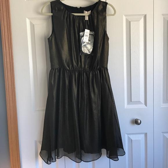 59ba27966a2 LOFT Bronze shimmer dress with black and gold belt
